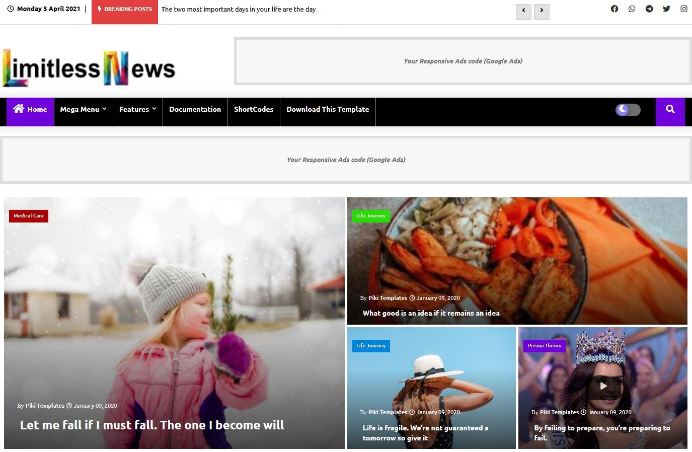 Limitless News Blogger Template is responsive news blog theme for google blogspot.