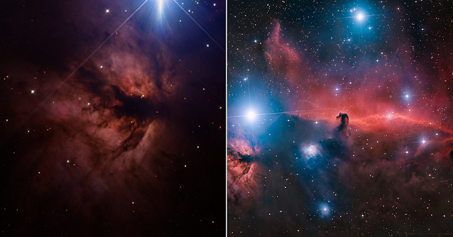 NGC 2024 -The Flame Nebula imaged by students from Barnstable High School, MA using remote telescope, ATEO-3 located in Chile (left) and Barnard 33 - The Horsehead Nebula processed by Insight Observatory Starbase subscriber, Daniel Nobre.