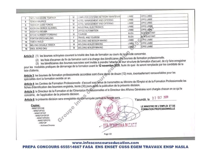 Résultat  des  Bourses Nationale dans le Domaine de la Formation  professionnelle (MINEFOP)