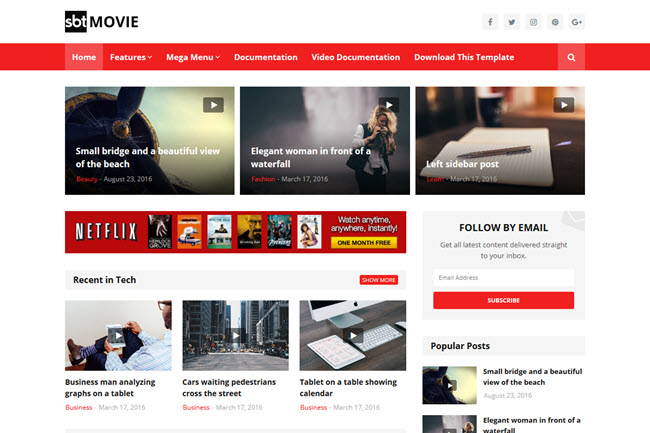 SBT Movie – Responsive Blogger Template