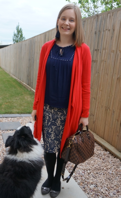 red waterfall cardigan with monochrome navy peasant lace pencil skirt | away from blue