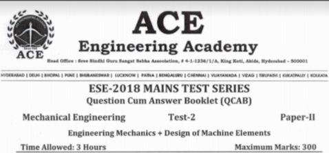 ESE PAPER-2 TEST-2 MECHANICAL ENGINEERING [ACE ACADEMY PUBLICATION]
