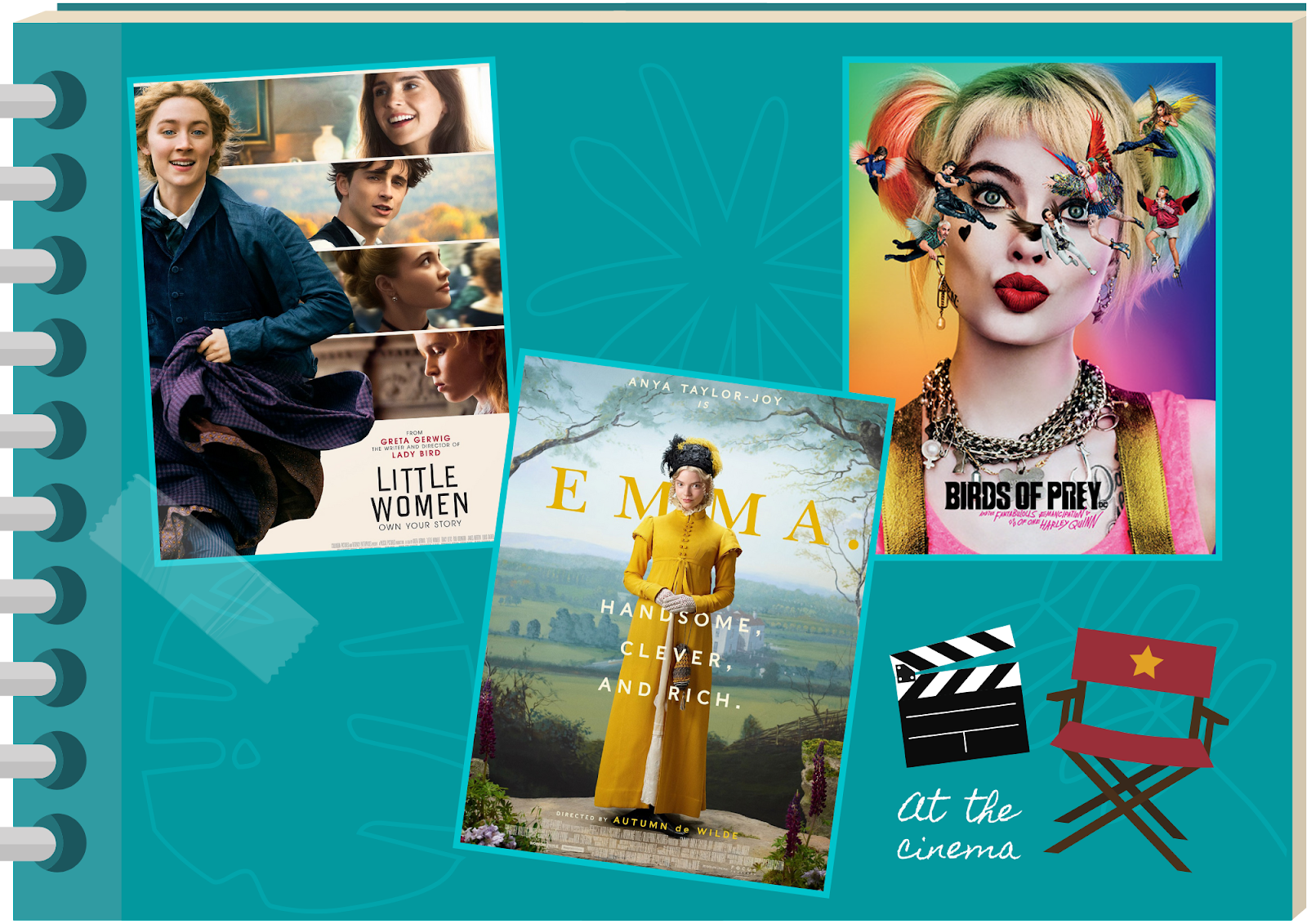 blue scrapbook featuring photos of Little Women, Birds of Prey and Emma. movie posters