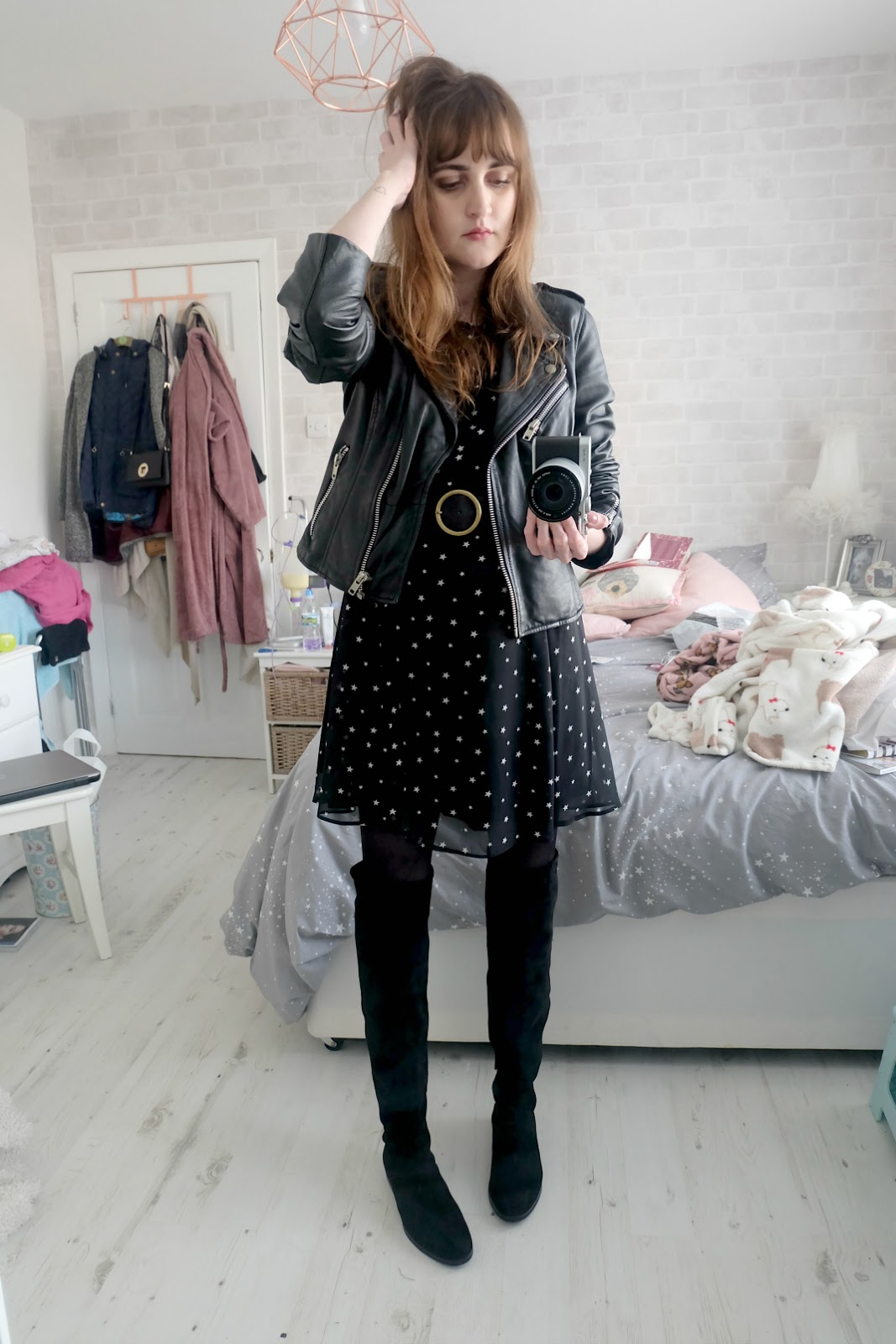 new look star dress, asos circle belt, zara over the knee boots, zara leather jacket