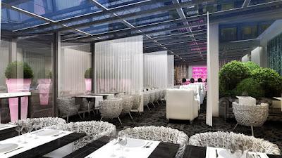 Perspective 3d restaurant de luxe hôtel 5 étoiles