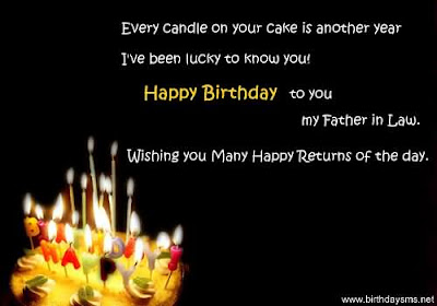 Happy Birthday  wishes quotes for father-in-law: every candle on your cake is anther year