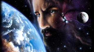 Ilustração Jesus chorando ao olhar para o planeta