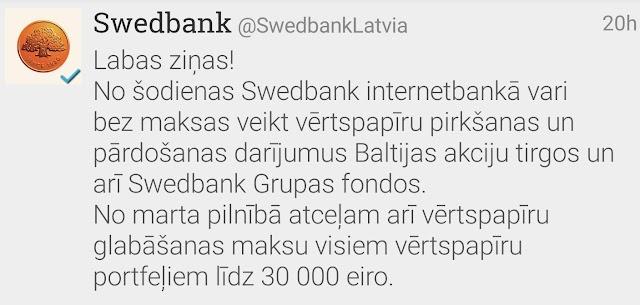 Ieguldījumi Baltijas vērtspapīros turpmāk bez komisijas maksas