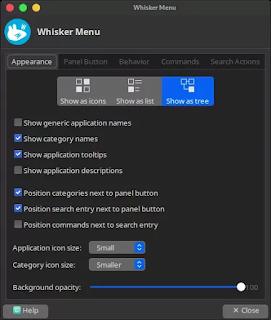 whisker menu settings