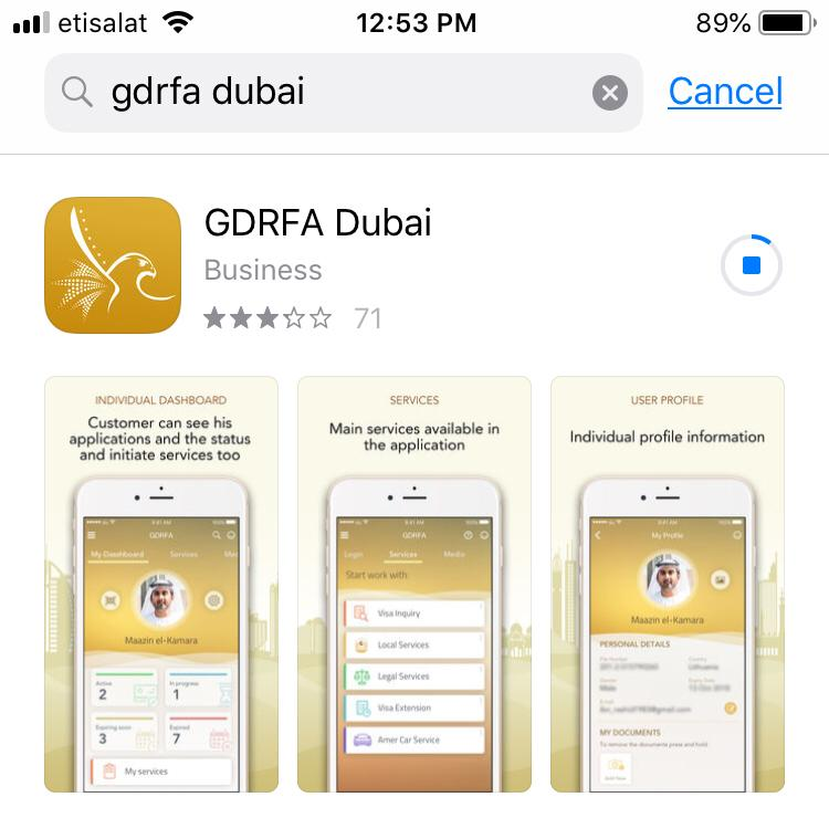 GDRFA Mobile application to check uae visa status