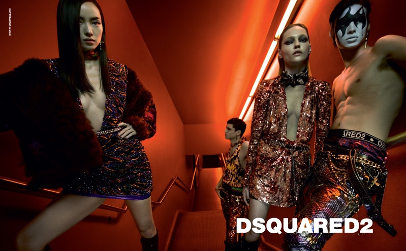 Fei Fei Sun, Sasha Pivovarova, Keenan Gyamfi and Louis Banes star in DSquared2 fall-winter 2019 campaign