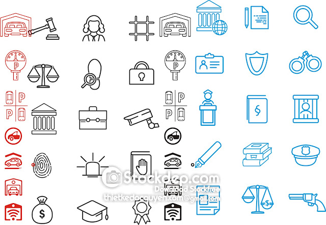 Set of Garage, Valet servant and Paid parking linear icons. stock free