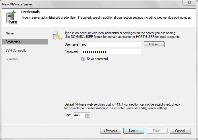 Adding ESX/ESXi host or vCenter Server to Veeam Backup