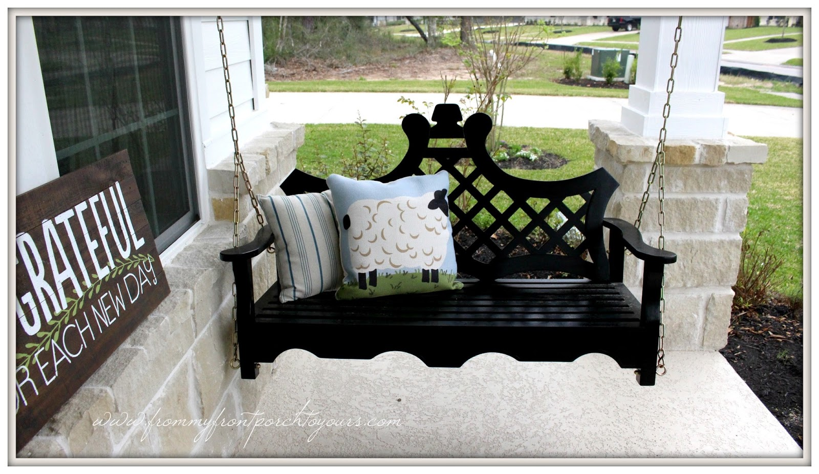 From my front porch to yours early spring farmhouse front for Farmhouse porch swing