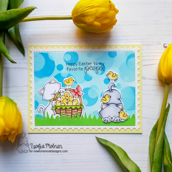 Kitty and chicks Card by Zsofia Molnar | Newton's Peeps Stamp Set and Bokeh Stencil Set by Newton's Nook Designs #newtonsnook #handmade