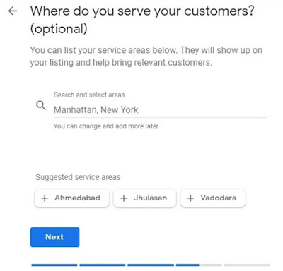 Optional question asking Where do you serve your customers Followed by search and select areas option