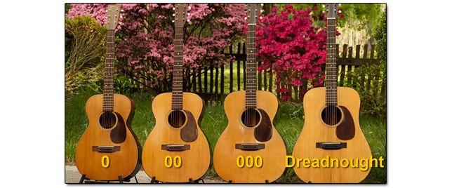 Diferentes Tamaños de Guitarra Acústica