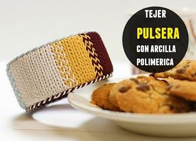 Pulsera tejida con arcilla polimerica tutorial