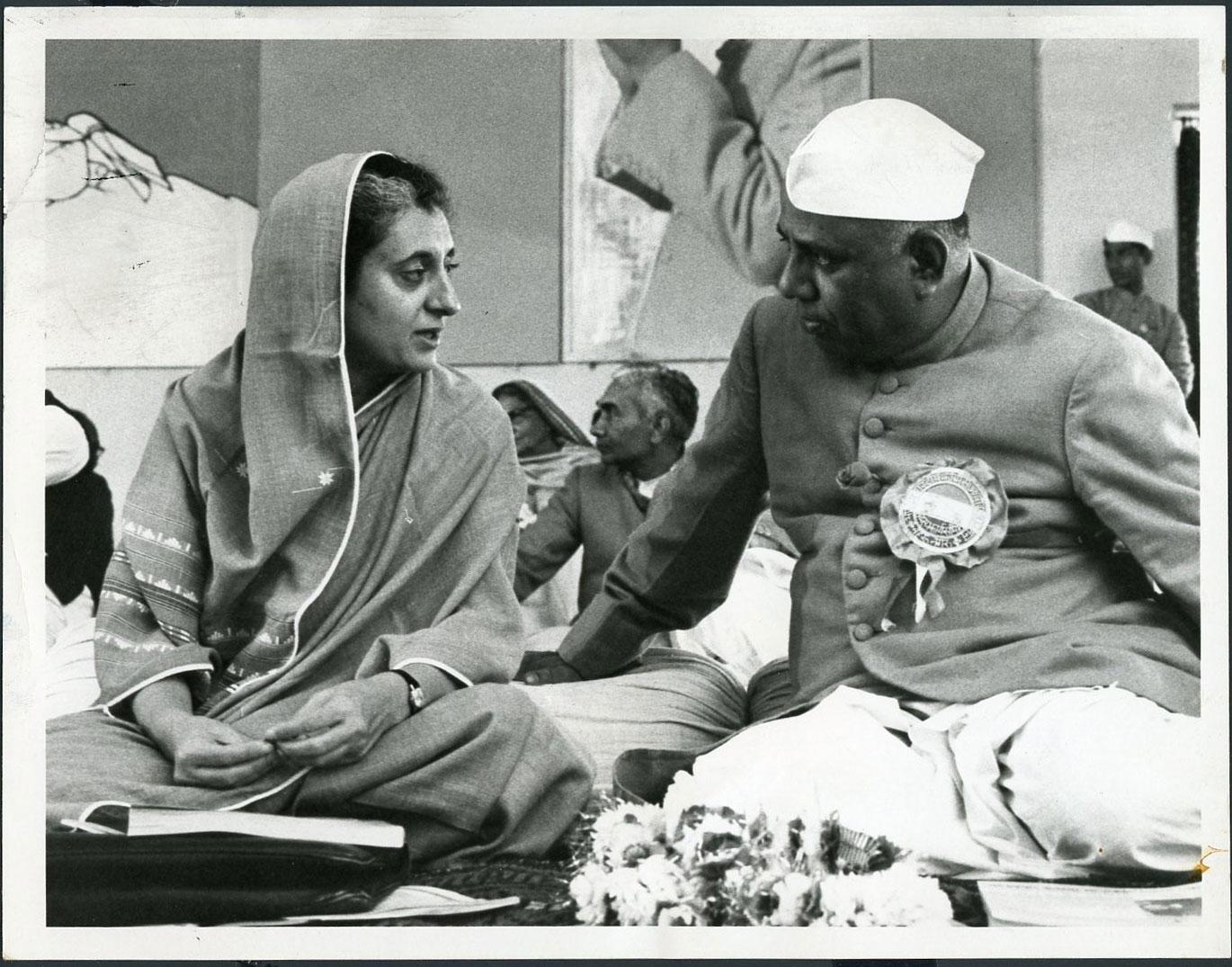 Prime Minister Indira Gandhi Chats with Defence Minister Y. B. Chavan in Jaipur During a National Meeting of the Governing Congress Party - 1966