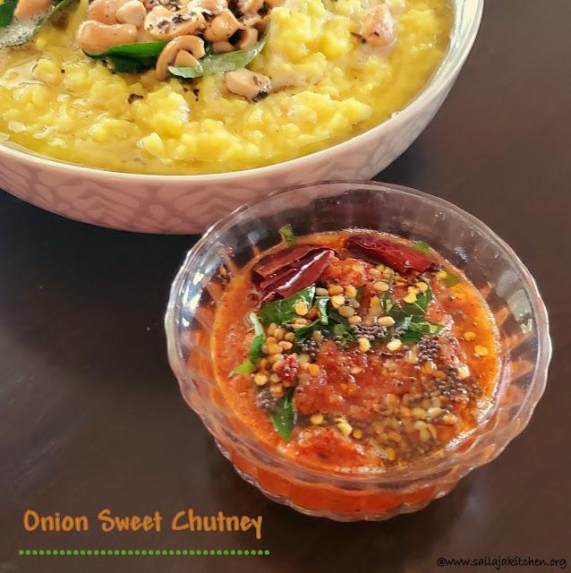 images of Onion Sweet Chutney / Raw Onion Sweet Chutney / Onion Chutney / Instant Onion Chutney
