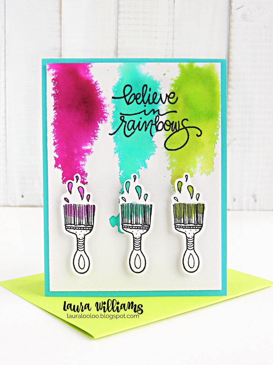 Can you paint a rainbow? Visit my blog to see ideas using this Believe in Rainbows stamp from Impression Obsession. This handmade card idea was so fun to create with three splashes of liquid dye ink to create a wall of color for my stamped paintbrushes.