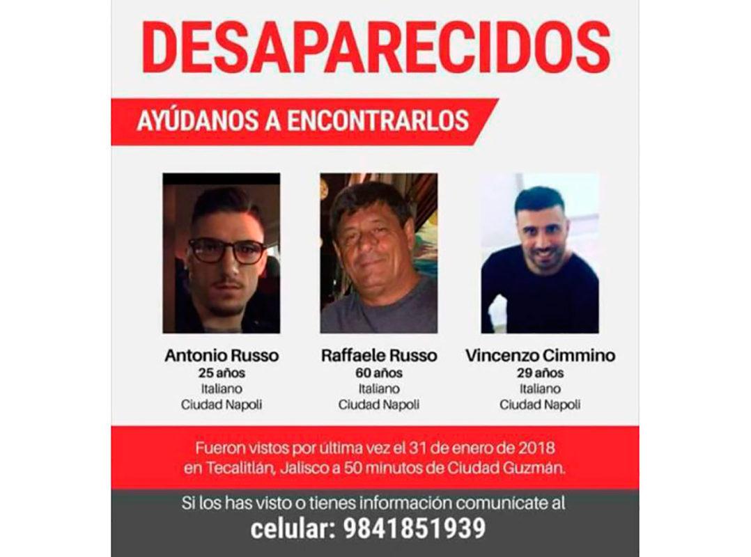 """No son mafiosos, los italianos desaparecidos por policías en las """"tierras malditas"""" de Jalisco: Familiares"""