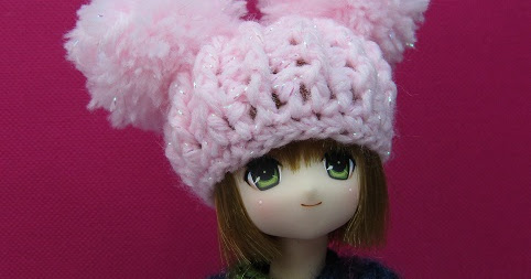 crochet cute kawaii hats for my Azone Pure Neemo, also fit my PukiPuki and Soom Dubu