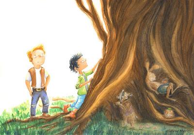 Cooper, aquarelle, gros arbre tortueux