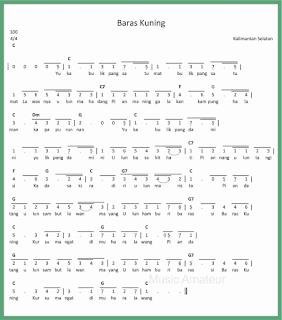 not angka lagu baras kuning lagu daerah kalimantan selatan