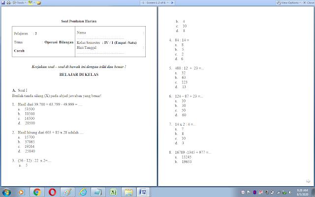 Soal ulangan harian matematika kelas 4 sd: operasi bilangan cacah