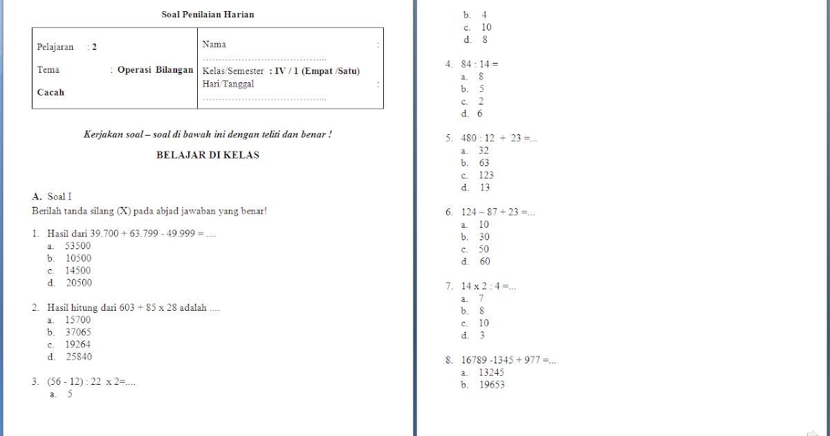 Soal Ulangan Harian Matematika Kelas 4 Sd Operasi Bilangan Cacah Antapedia Com