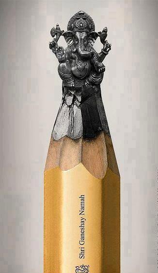 鉛筆の芯で作られたガネーシャ