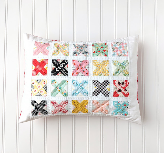Cross Stitch Quilt Block and Patchwork Pillow Tutorials by Heidi Staples of Fabric Mutt