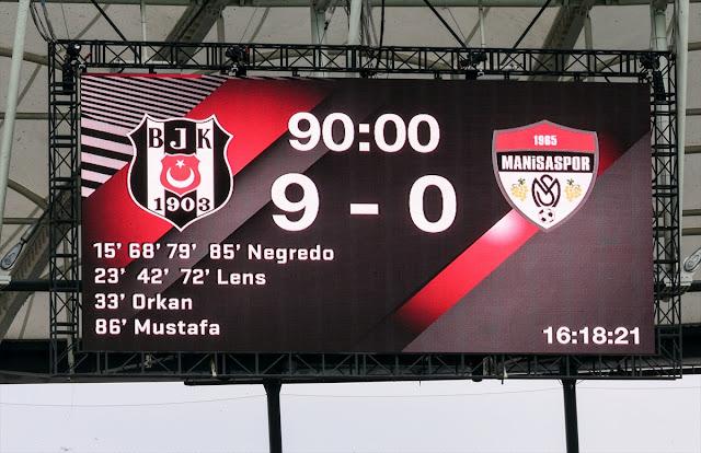 أمطر فريق بشيكطاش، اليوم الثلاثاء، مرمى ضيفه مانيسا سبور بتسعة أهداف نظيفة في ذهاب دور الـ 32 لبطولة كأس تركيا لكرة القدم.