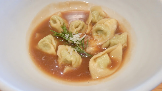 Tortellini with chicken and mortadella