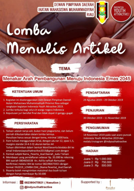 Lomba Menulis Artikel Nasional 2019 di IMM Riau Buanyak Macam Hadiahnya