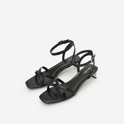 Giày Ankle Strap Phối Gót Metallic - SDN 0639 - Màu Đen
