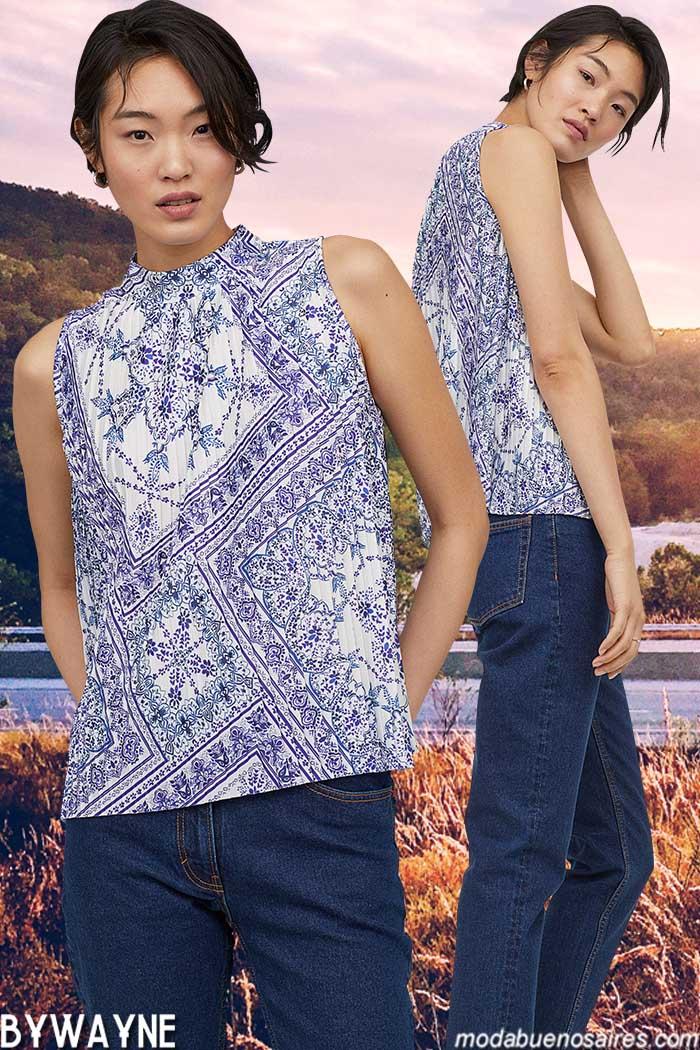 Tops y jeans recto primavera verano 2020.