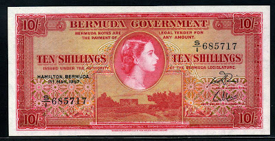 Bermuda Ten Shillings, Queen Elizabeth on world banknotes Paper Money