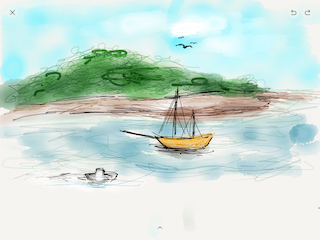 digital finger sketch done on iPad mini - not by author, but his son