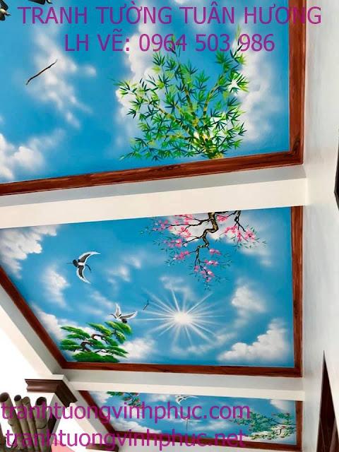 vẽ trần mây 3d và tranh tường tại ngã 4 me tam dương34