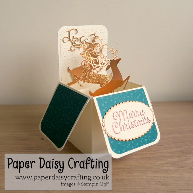 Pop Up card in a box using Detailed Deer thinlits from Stampin Up