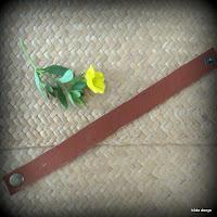 LoveLea's brown leather minimalist narrow bracelet
