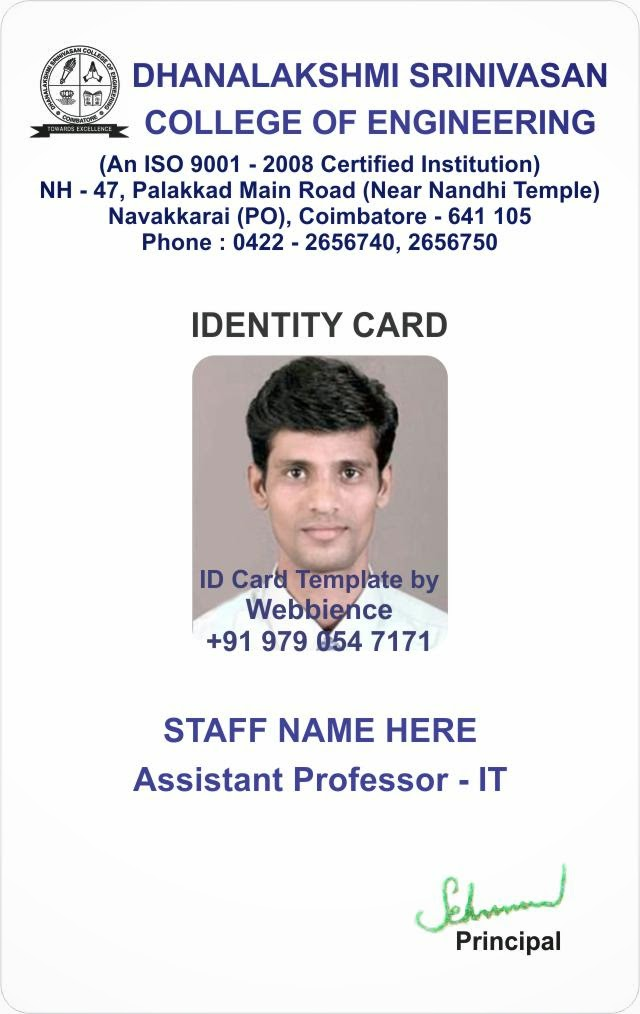 Template Galleries College Student ID Card Template Gallery 1410