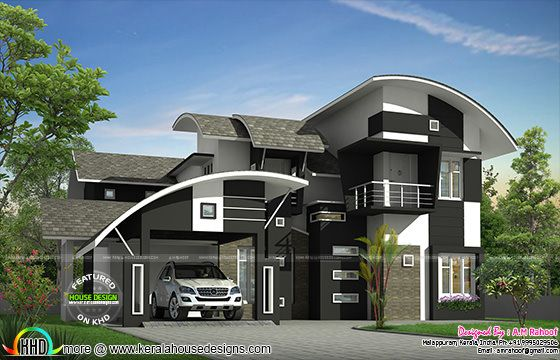 2650 sq ft contemporary curved roof home kerala home for Curved roof house designs
