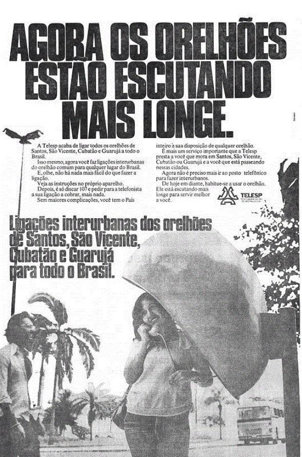 Propaganda antiga da Telesp anunciando orelhões no litoral paulista com ligações interurbanas em 1978