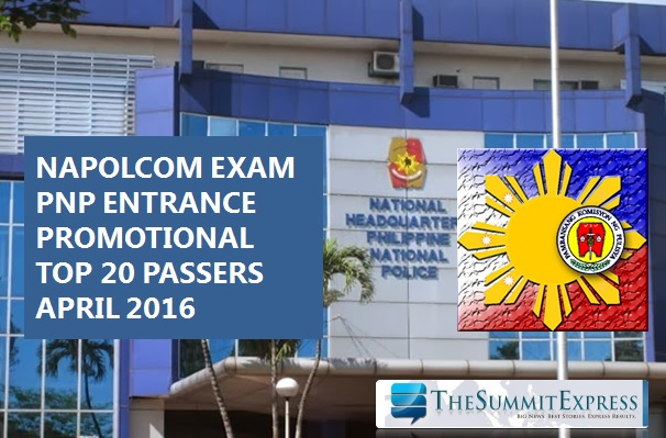 Top 20 Passers: April 2016 NAPOLCOM exam results
