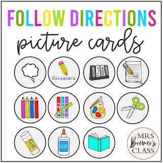 Following directions made easy with a picture directions chart! The visual icons feature movable pieces so students know what to do and in what order. A must have for Kindergarten and First Grade!
