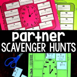 Partner Scavenger Hunt Activities in math class