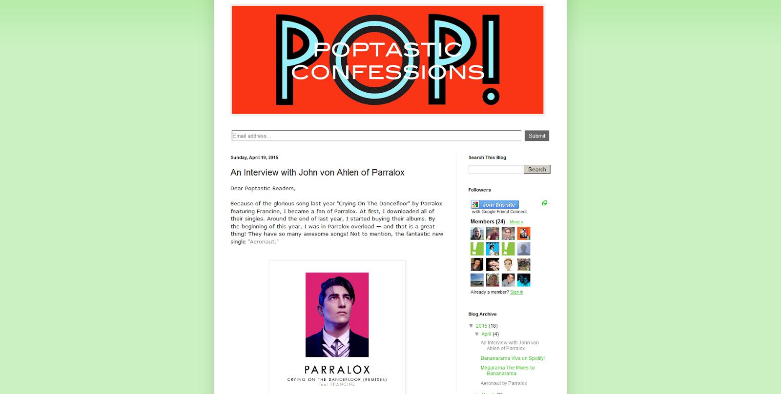 Poptastic Confessions (USA) interviews John von Ahlen of Parralox